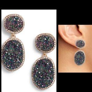 BaubleBarmGreen Krystal Faux Drusy Drop Earrings